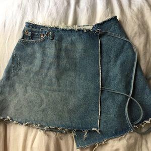 GRLFRND DENIM from revolve wrap denim mini skirt
